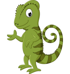 cartoon chameleon posing vector image