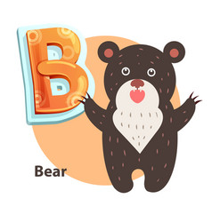 cartoon roaring taliped bear representing b letter vector image
