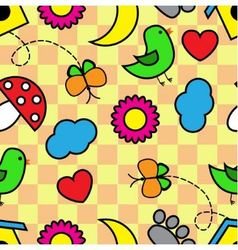 Cartoon seamless pattern with flora and fauna vector