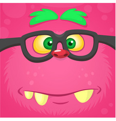 Cartoon smart monster face wearing glasses vector