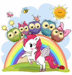 Cartoon unicorn and five cute owls vector