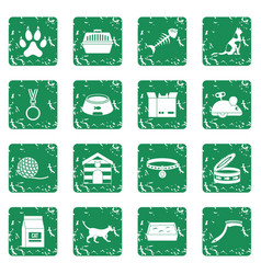 Cat care tools icons set grunge vector