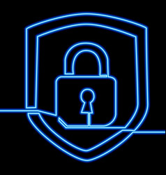 Continuous line drawing padlock icon neon concept vector
