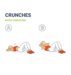 Crunch female home workout exercise guide vector