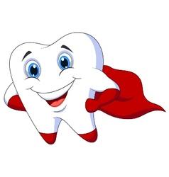 Cute cartoon superhero tooth posing vector image