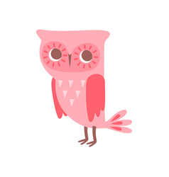 Cute funny cartoon pink owlet bird character vector