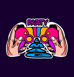cute game logo patch with party game lettering vector image