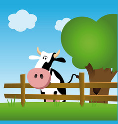 Dairy cow in a field vector