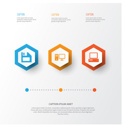 device icons set collection of personal computer vector image