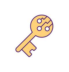 Digital signing key rgb color icon vector