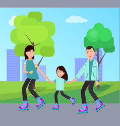 family roller skating together vector image