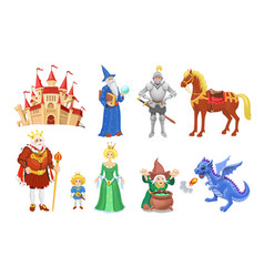 Fantasy fairy tale clipart cartoon characters vector