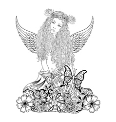 Forest fairy with wings and wreath on the head vector