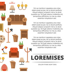 Furniture shop poster design - banner with flat vector