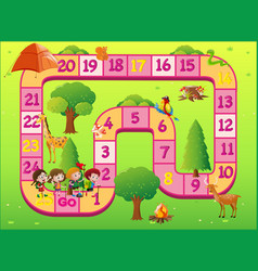 game template with kids at the zoo vector image