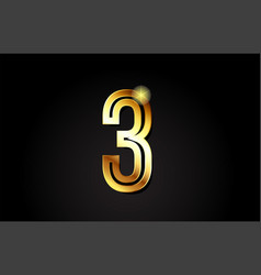 Gold number 3 logo icon design vector