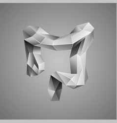 Gray low poly human colon vector