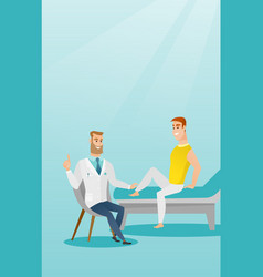 gym doctor checking ankle of a patient vector image
