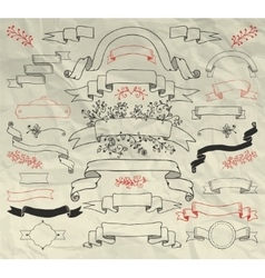 Hand Drawn Doodle Ribbons Collection on Crumpled vector