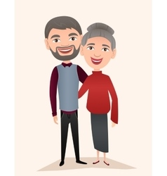 Happy middle aged couple isolated vector