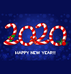 happy new year 2020 text as lollipop vector image