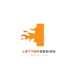 I letter flame logo design fire logo lettering vector