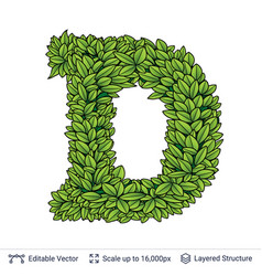 Letter d symbol of green leaves vector