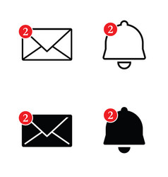 Letter envelope and bell set vector