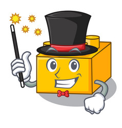 Magician plastic building tyos shaped on mascot vector