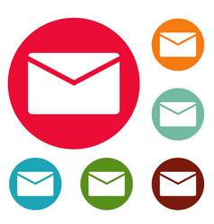 mail icons circle set vector image