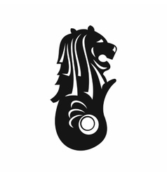 Merlion statue Singapore icon simple style vector
