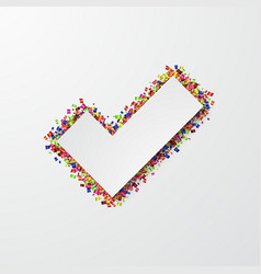 modern vote mark with confetti on white vector image