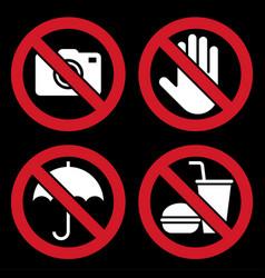 no camera do not touch umbrella not allowed vector image