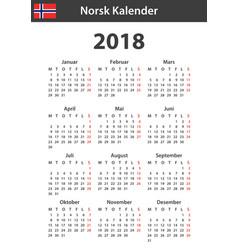 Norwegian calendar for 2018 scheduler agenda or vector