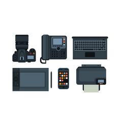 office equipment mobile devices icons set vector image