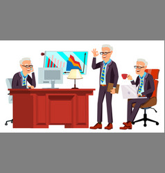 old office worker face emotions various vector image