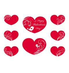 Ornate hearts vector image