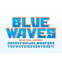 Pixel alphabet design stylized like in 8 vector