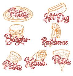 Pizza barbecue kebab hot dog burgers set of hand vector