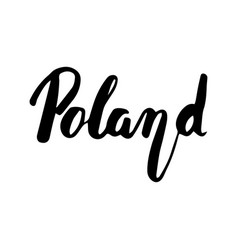 Poland hand lettering isolated on white vector