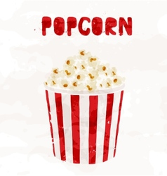 Popcorn in striped bucket on white background vector