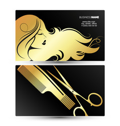profile girl with hairstyle business card golden vector image