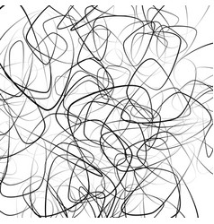 Random squiggly chaotic lines artistic monochrome vector