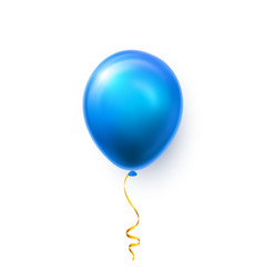 Realistic blue balloon on white background with vector