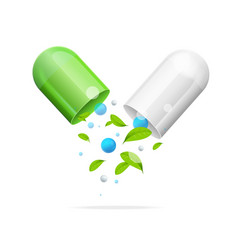 realistic detailed 3d pill with green leaf vector image
