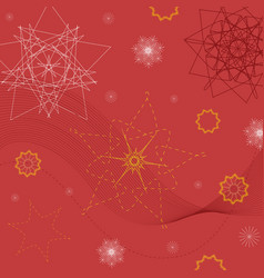 red background with abstract geometric figures vector image