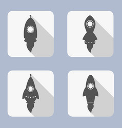 rocket icons set on white background vector image
