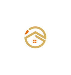 round line house building icon logo vector image
