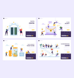 Save money to buy future landing page set vector