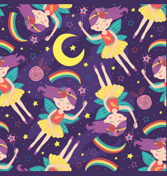 seamless pattern with magic night fairy vector image